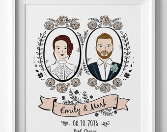 Custom Couple Portrait Illustration, Custom portraits, valentines day gift, anniversary gift,  gift for newlywed, personalized wedding gift