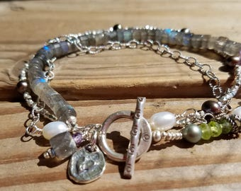 Labradorite Bracelet and Hill Tribe Silver, Multi Gemstone, Amethyst and Sterling Silver, Heart Charm, Love Charm, February Birthstone