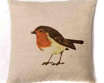 Robin Cushion Pillow Festive Bird