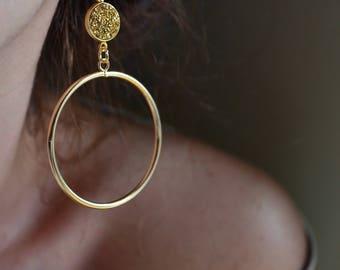 Druzy hoops, druzy earrings, gold agate hoops, druzy agate hoops