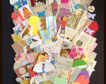 100+ pieces scrap vintage paper, lace and collected paper pack