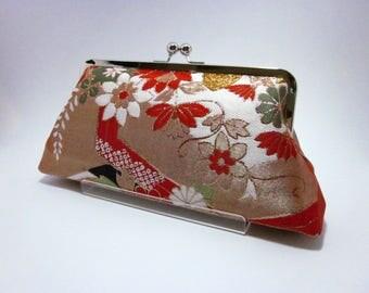 Orange Gold floral Clutch/Kimono purse/  Purse / Hand-made/ Vintage Kimono Obi bag/24