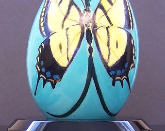 Original painted egg of butterfly with stand