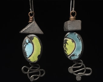 Shabby danglers in dark, glazed ceramic, hung from squiggly wire headpins by Pipnmolly, blue and green, Dancing Around the Subject