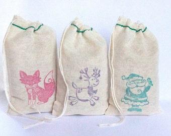 Christmas bags cotton favor bag 15 3X5 with stamp gift sack christmas party goodies treat bag