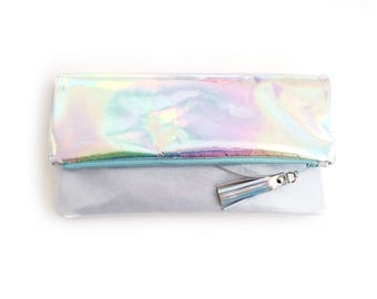 Iridescent Fold over Clutch, Holographic Clutch, Hologram Leather Clutch, Opal Leather Purse, Vinyl Shimmer Clutch, Mermaid Glitter Clutch