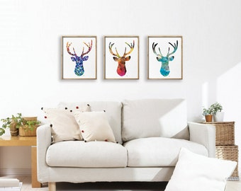Antler, Stag, Blue Deer Print Set of 3 - Minimalist Art, Watercolor Poster Silhouette Art - Wall Decor, Home Decor, Gifts - 5x7, 8x10, 11x14