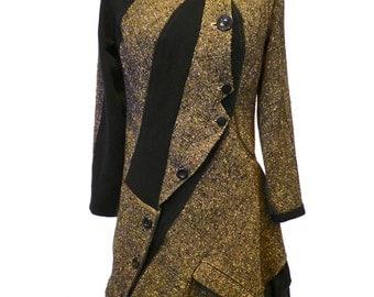 "Coat woman coat winter warm coat long black brown ocher curved T 38-40 ""Calonia"""