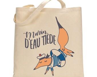 Fox Sailor Totebag - Cotton Bag - French Sailor Bag for Baby - For Men