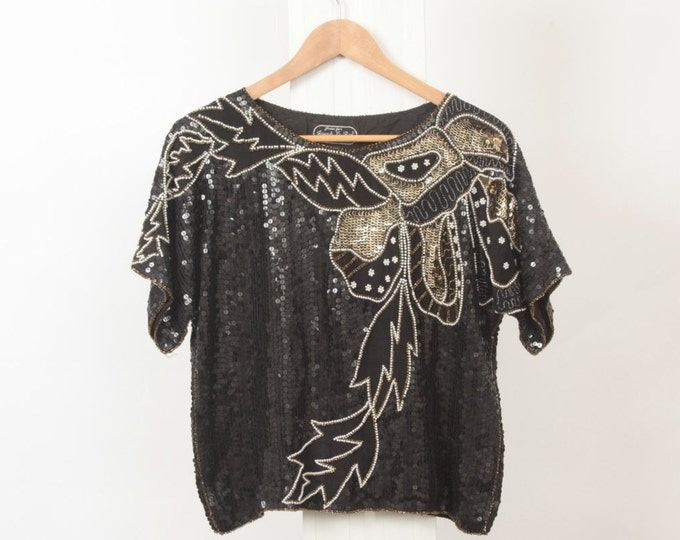 SILK Black SEQUIN Metallic BEADED Pearl Gold Embellished Womens S Small Silver Short Sleeve 80s Vintage Glam Party Sheer Blouse Top