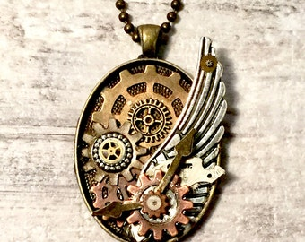 Hybrid Steampunk Pendant Necklace, Steampunk Jewelry, Silver Angel Wing Necklace, Gear Necklace,  Vintage Watch Parts, Bronze and Copper