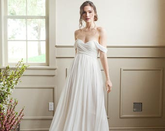 Off The Shoulder Bridesmaid Dress, Strapless Gown, For A Modern Wedding
