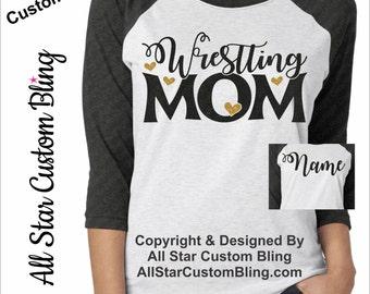 Glitter Wrestling Mom Chevron Tri-Blend Raglan, Custom Wrestling Raglan, Wrestling Mom Raglan, Custom Wrestling Shirt