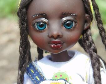 "Resin BJD doll ""Gloria"" 16 cm, Full set, ball jointed doll, fairy tale, chocolate, girl"