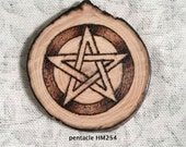 Small Oak Wood Altar Pentacle Natural Slice Pentagram for Wicca Ceremonial Magick Use