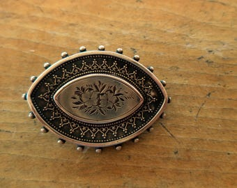 Antique Victorian Sterling Brooch C Catch English Aesthetic Period Forget Me Not