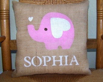 Elephant pillow, Personalized pillow, Unique baby gift, baby Shower gift, nursery decor, custom name pillow, free shipping!