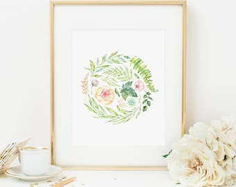 Spring Floral Printable Pink Floral Nursery Print Pink Nursery Wall Art Shabby Nursery Decor French Cottage Decor Roses Spring Foliage 262
