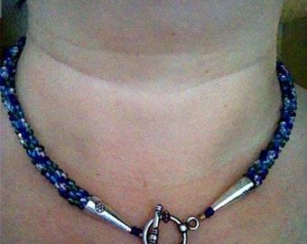 Blue Skies kumihimo necklace