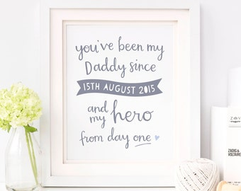 My Hero Personalised Print - Father's Day Gift - Personalised Gift For Daddy - Father's Day Prints - Gift for Dad - Birthday Gift for Dad