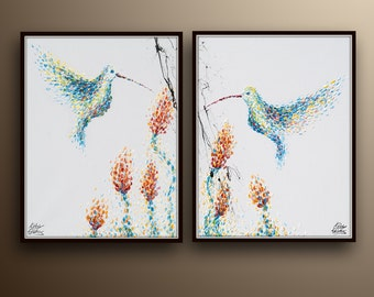 """Set Painting 40"""" Original oil painting on canvas, Animal painting, humming bird painting, Modern style, Express shipping, by Koby Feldmos"""