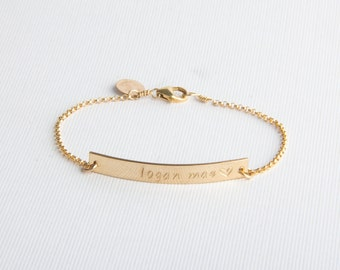 Skinny Bar Bracelet, Personalized, Name Bracelet, Gold Filled, Sterling Silver, Rose Gold Filled
