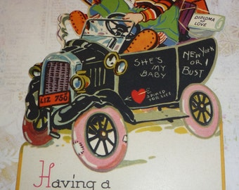 Adorable Valentine-Boy in Car Having a Rattling Good Time Unused Standup Vintage Mechanical Valentine Card
