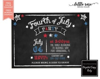 Fourth of July Party Invitation - July 4th Summer Red White & Blue - 4th of July BBQ - Labor Day - Birthday - Patriotic - Printable
