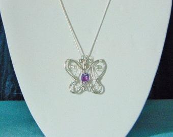 Amethyst Butterfly Gemstone Wire Pendant Necklace