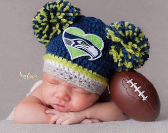 Seattle Seahawks baby girl hat, newborn, preemie