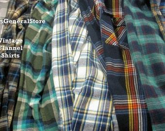 Vintage Oversize Flannel Shirts Distressed Flannels