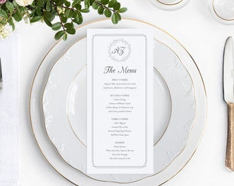 Wedding Menu Template, Wedding Menu Cards, Wedding Menu Printable, Gray Menu, Rustic Wedding Menus, Winter Wedding, Simple Wreath