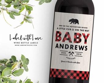 Pregnancy Announcement Wine Bottle Label, Lumberjack Baby Shower Wine Label Favor, Pregnancy Announcement Ideas, Pregnancy Reveal Bear Cub