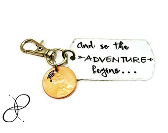 And So The Adventure Begins Keychain   Hand stamped Penny   Graduation Gift   Graduate Gift   New Beginnings   Motivational Key Chain   Grad