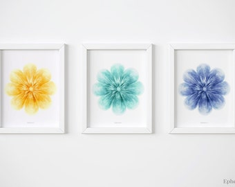 Printable gallery wall art Set of 3 wall art, Floral Triptych, Nursery flowers prints collection, Blue and yellow Nursery wall prints set