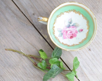 Pagoda Teacup, Green and Pink, Floral Teacup, Fine Bone China, England Rego, Pink Rose, Green and Gold,Ornate Gold,Demitasse Cup,Gold Detail