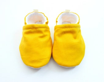 Simple mustard solid fabric soft sole crib baby shoes, for boys or girls