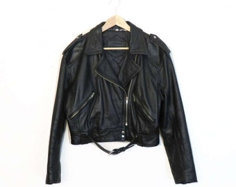Vintage 1980s Leather Cropped Motorcycle Jacket Size S/M