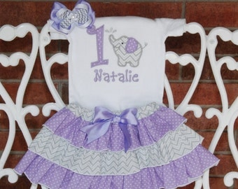 Elephant Birthday Outfit! Girls purple elephant birthday outfit with applique top, ruffle skirt, and hair bow!