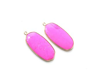 Rose Pink Howlite Turquoise Oval Pendant - Gold plated Bezel - 1 pc