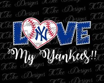 Love My Yankees - New York Baseball - SVG Design Download - Vector Cut File