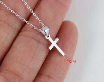 Tiny cross necklace, sterling silver cross, personalized cross necklace; silver necklace, girls cross necklace, women cross necklace, NE8260