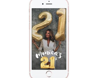 Custom Snapchat Geofilter Birthday Snapchat Filter, All Ages Gold Balloon Numbers Geofilter