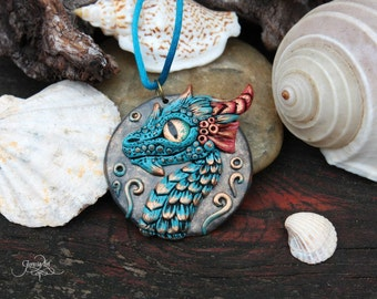 Blue Water Dragon Medallion - dragon pendant - necklace - fantasy - polymer clay jewelry - sea - ocean - ooak - dragon wiccan amulet