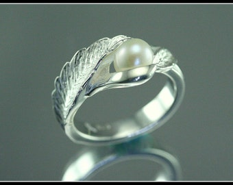 Silver leaf ring, silver and pearl leaf ring,  pearl ring, unique handmade, artistic creation, original design, wedding ring