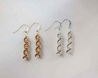 Silver or Gold DNA Earrings, Sterling Silver Science Jewelry, 3D DNA Double Helix, Dangle Earrings, Biology Science Themed Jewelry, Gold DNA