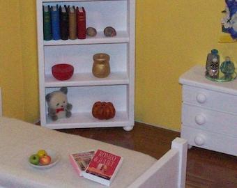 1:12 scale shelves/ white 1 12 scale furniture/ 1 12 scale bookcase/ miniature shelves/ dollhouse shelves/ dollhouse storage/ white shelves