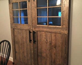 Double Barn Door With Grid Window Panes