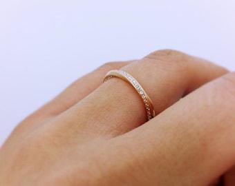 Mobius diamond ring, Wedding band, 14k Gold and diamonds ring, Eternity ring, Twisted wedding band, Mobius engagement ring, Wedding ring