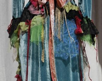 """Very artistic dress jacket """"Baroque painting"""", silk velvet sky blue, Art to wear, Unique, feminine, bleu velvet silk jacket"""